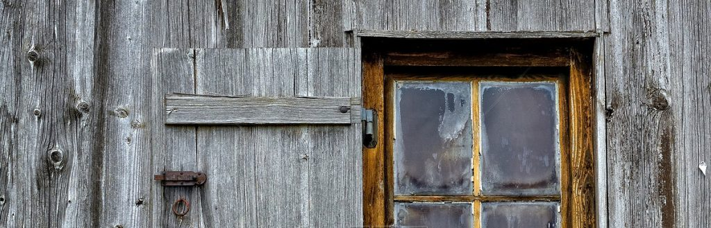 weathered barn window